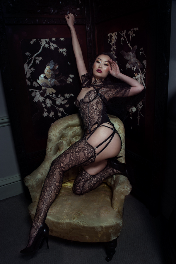 Andromeda French Lace Lingerie Set by Karolina Laskowska. Photography by J. Tuliniemi, modelled by Ceci Zhang, MUA by Anitka Kwiat.