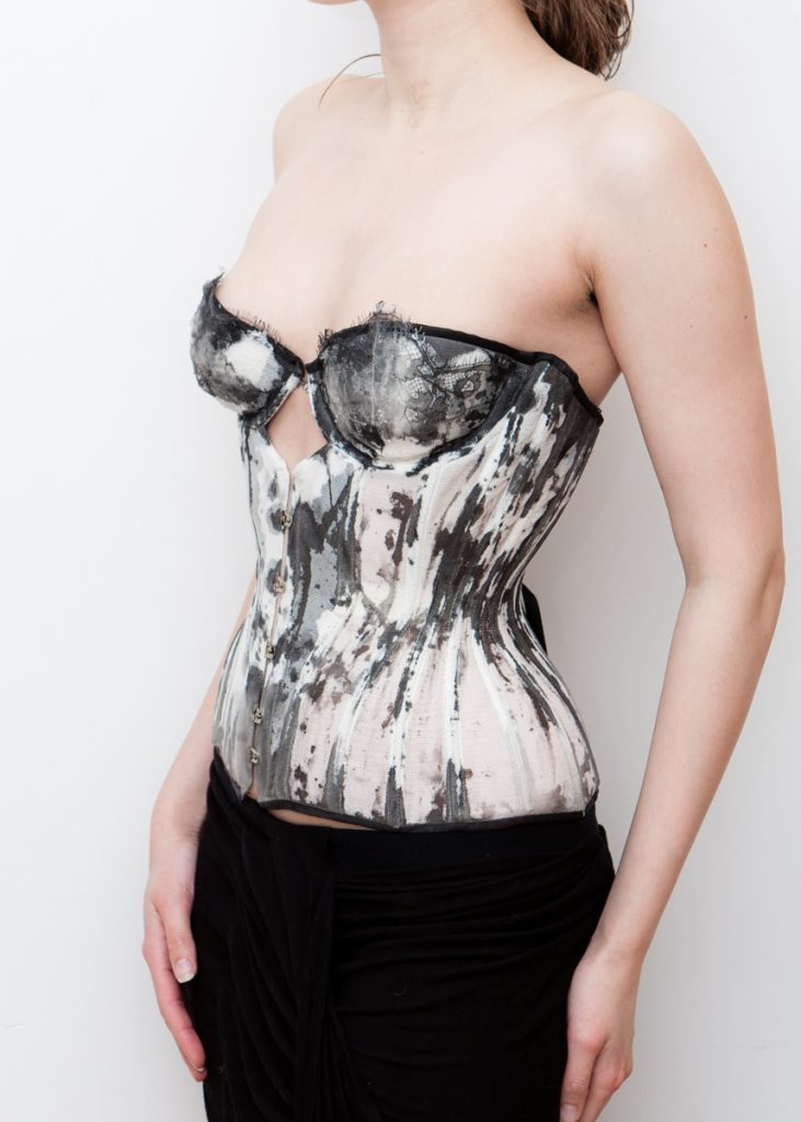Ink cupped bobbinet corset by Karolina Laskowska.