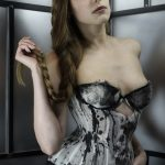 Ink cupped bobbinet corset by Karolina Laskowska. Photography by Jenni Hampshire