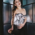 Ink cupped bobbinet corset by Karolina Laskowska. Photography by Jenni Hampshire
