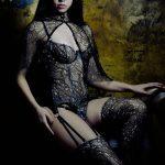 Andromeda French Lace Lingerie Set by Karolina Laskowska. Photography by Jenni Hampshire, modelled by Yazzmin Newell.