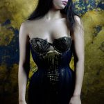 Klimt Gold Leaf Corset Dress by Karolina Laskowska. Photography by Jenni Hampshire, modelled by Yazzmin Newell.