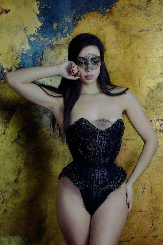 Vela Cotton Bobbinet Tulle Corset Body by Karolina Laskowska. Photography by Jenni Hampshire, modelled by Yazzmin Newell.