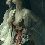Tokeiso Overbust Kimono Silk Corset by Karolina Laskowska. Modelled by Twig, photography by Sparklewren