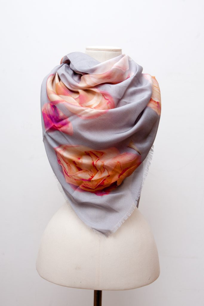 Scattered Roses Silk Scarf by Karolina Laskowska