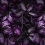 Dark Clematis Silk Scarf by Karolina Laskowska